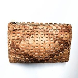 Vintage leather woven clutch bag